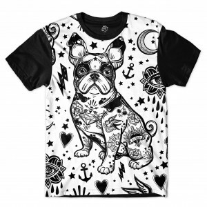 Camiseta BSC Bulldog Tattoo Full Print Preto/Branco
