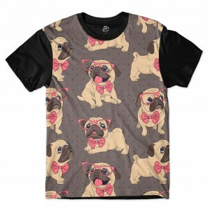 Camiseta BSC Cute Bulldog Glasses Full Print Preto