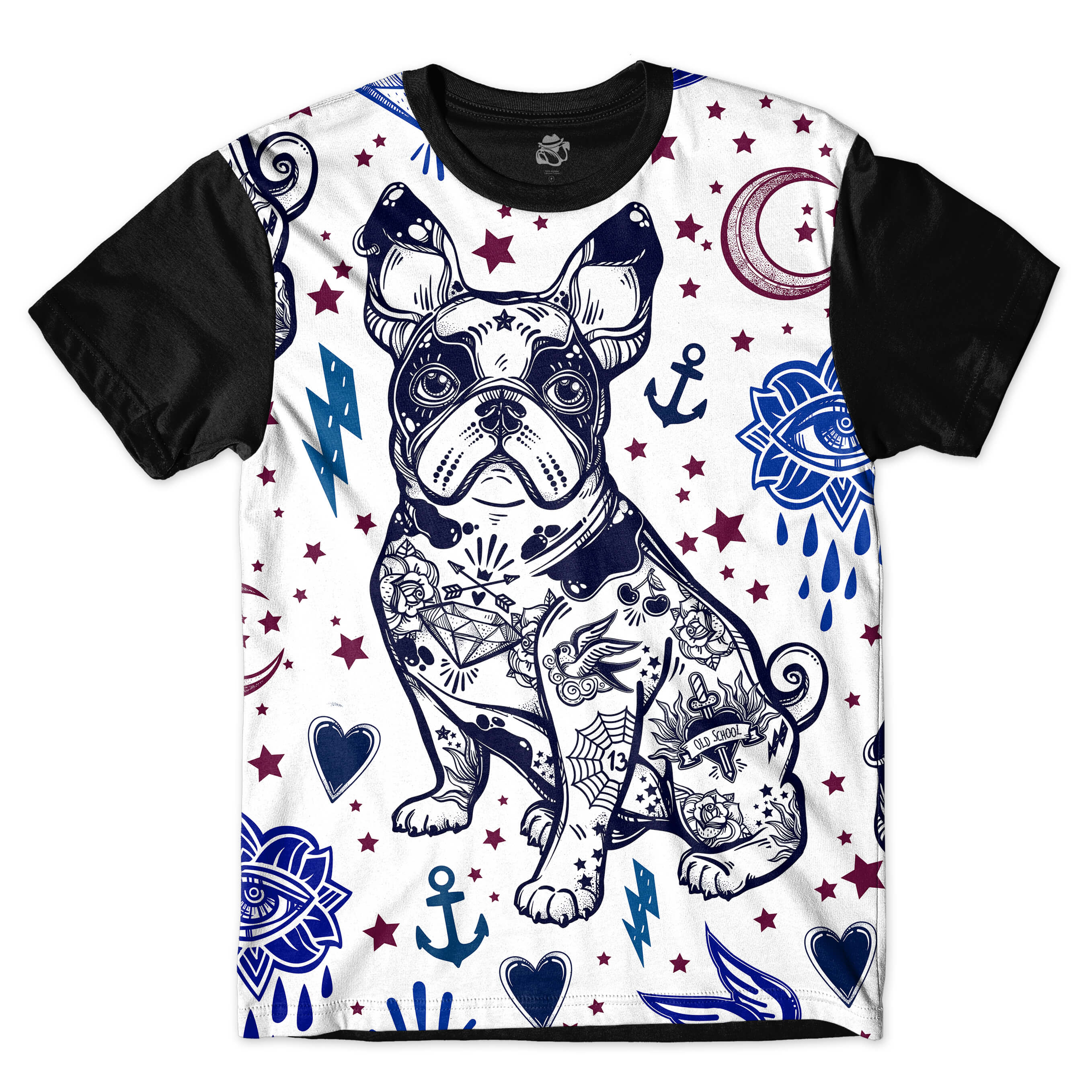 Camiseta BSC Bulldog Tattoo Color Full Print Preto