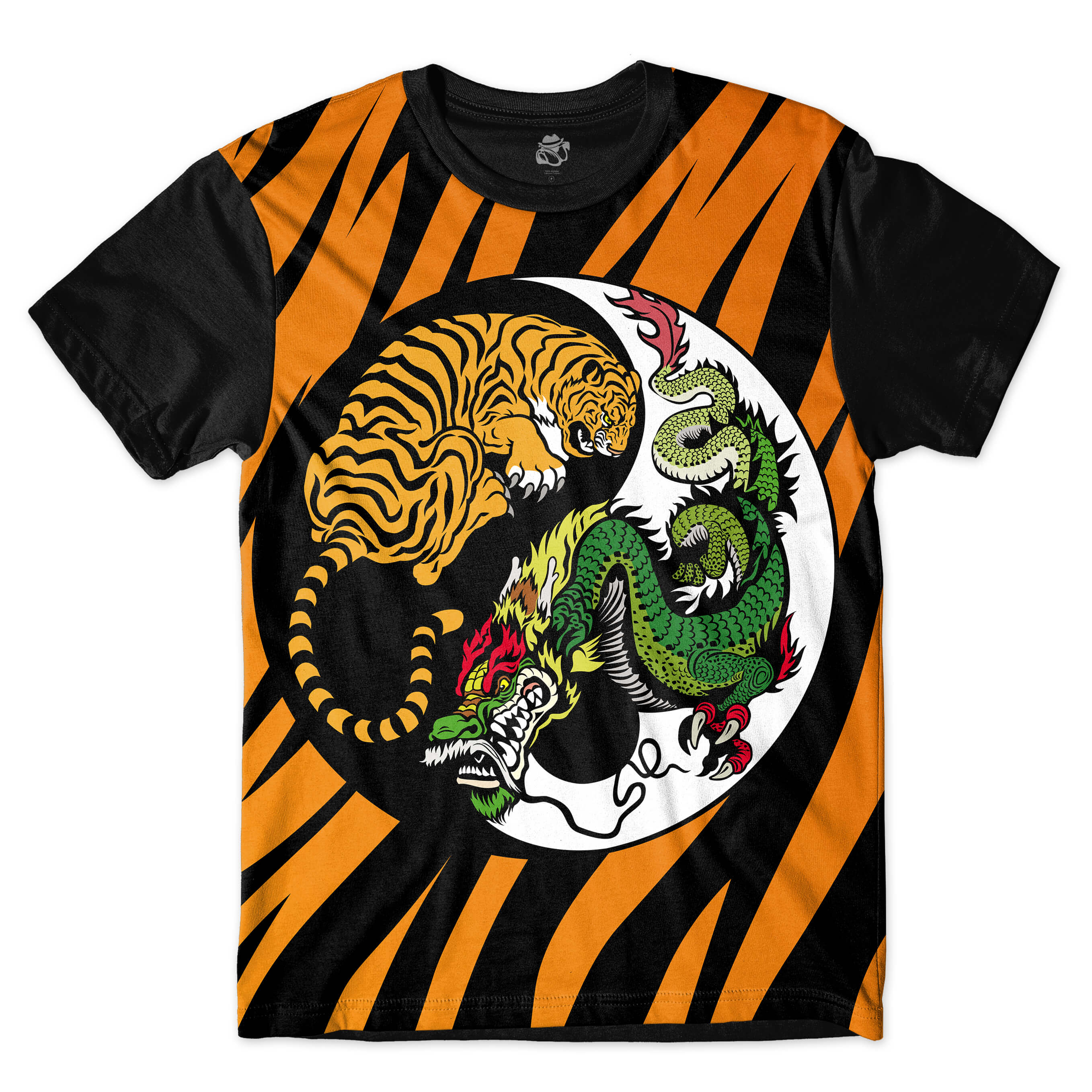 Camiseta BSC Tiger Stripe Good and Bad Full Print Preto/Laranja