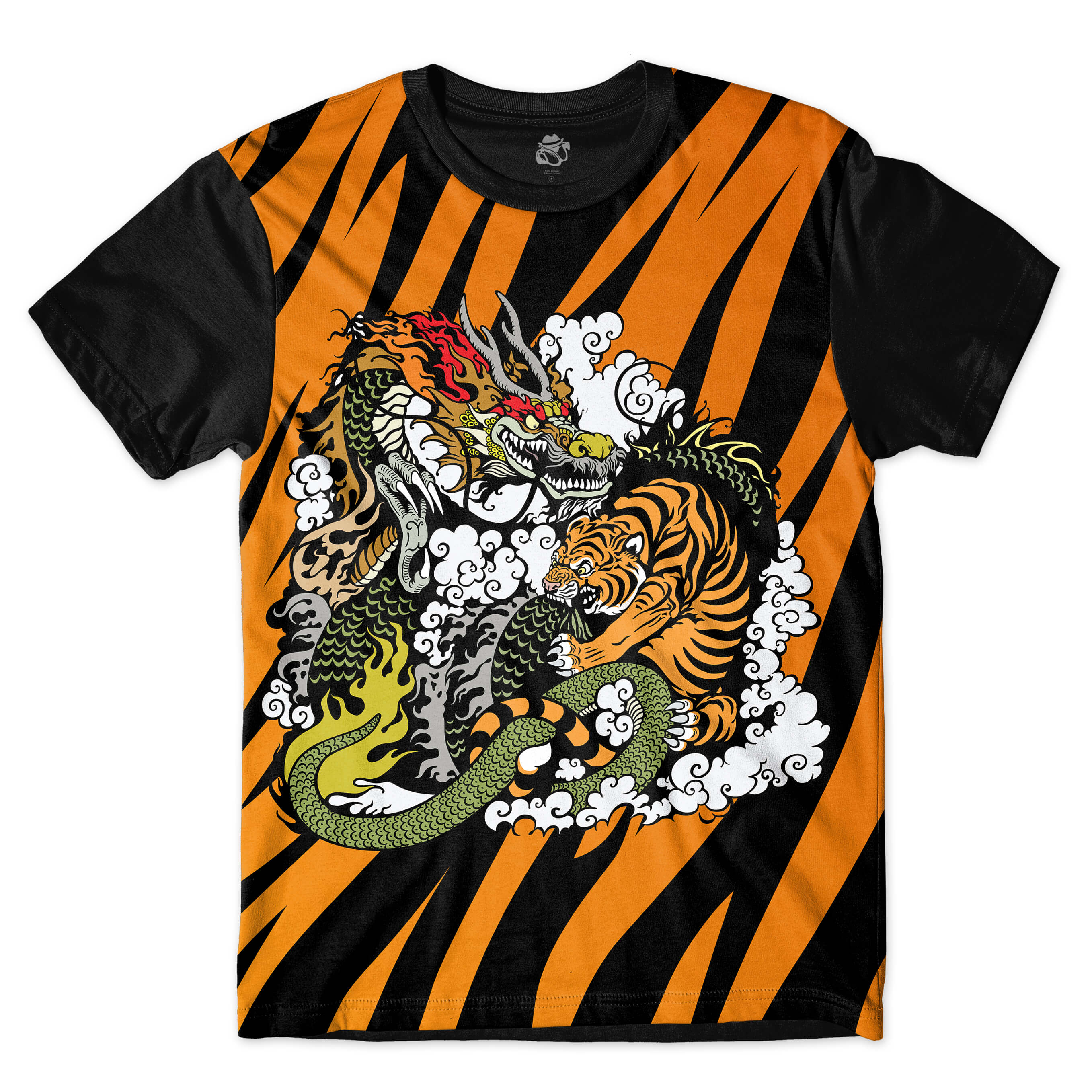 Camiseta BSC Tiger Fight Sublimada Preto/Laranja
