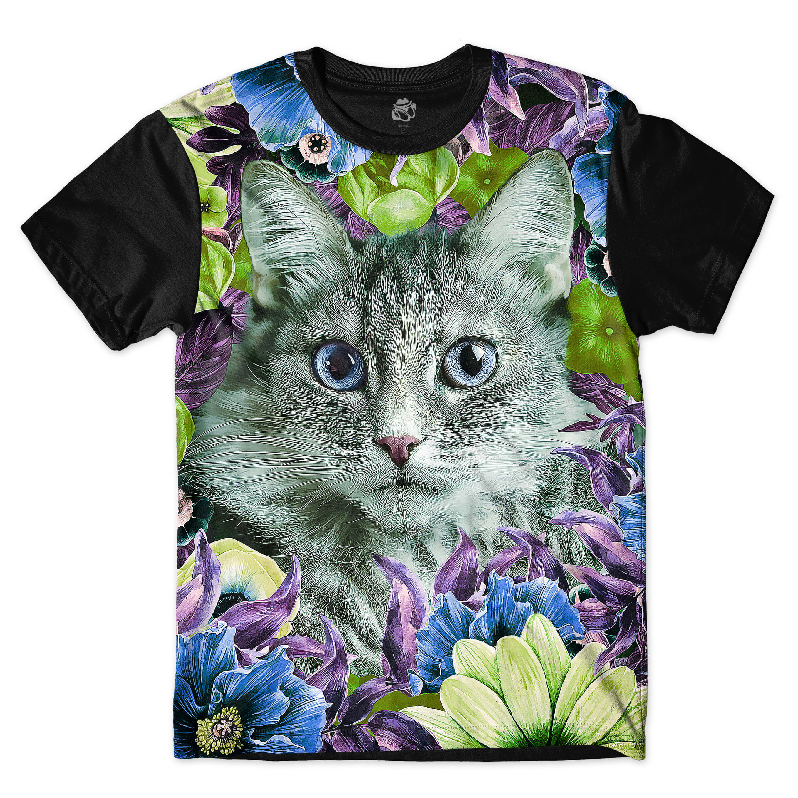 Camiseta BSC Cat Flower Full Print Preto
