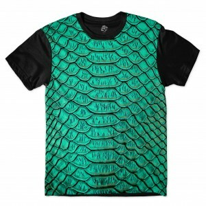 Camiseta BSC Snake Leather Sublimada Preto/Verde