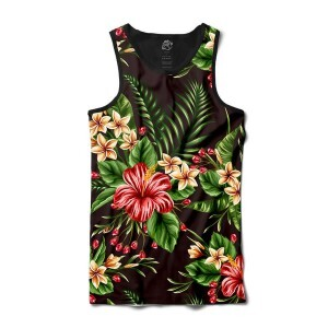 Camiseta BSC Regata Flowers leaves Sublimada Preto