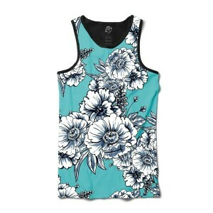 Camiseta BSC Regata White Flowers Sublimada Preto/Azul