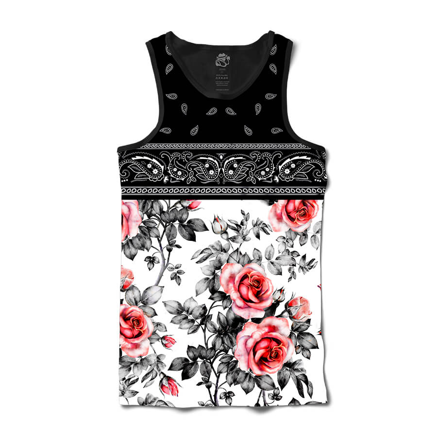 Camiseta BSC Regata Rose Bandana Sublimada Preto/Branco
