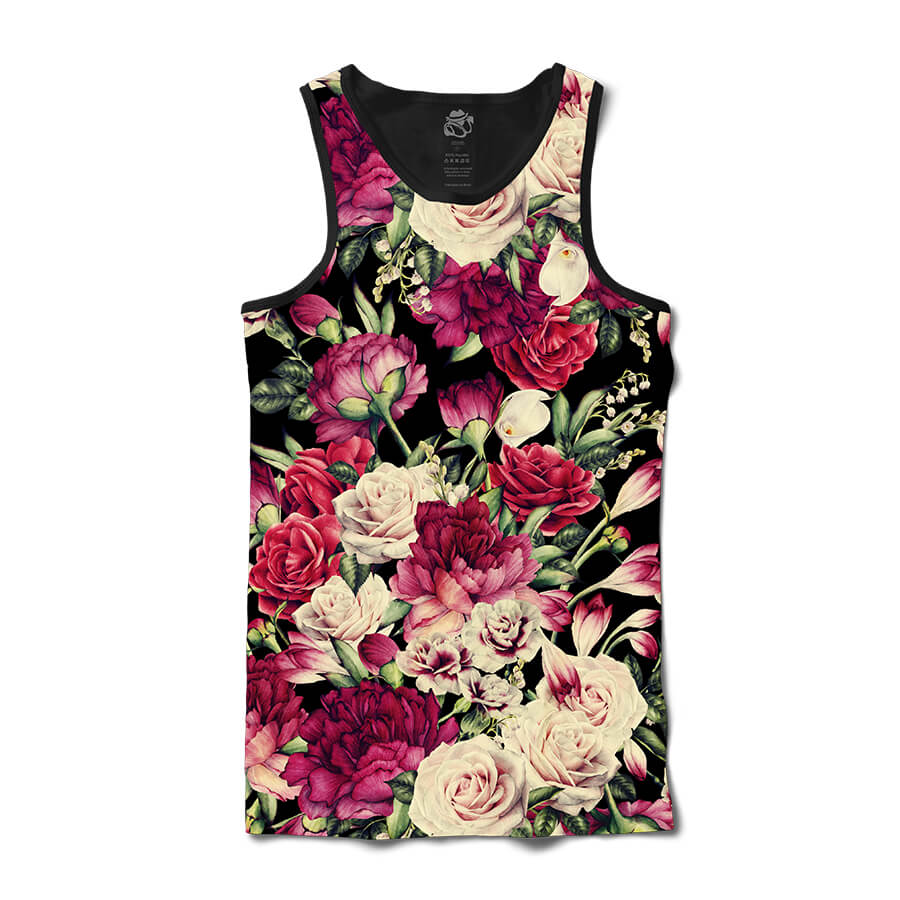 Camiseta BSC Regata Vintage Dark Flower Sublimada Preto