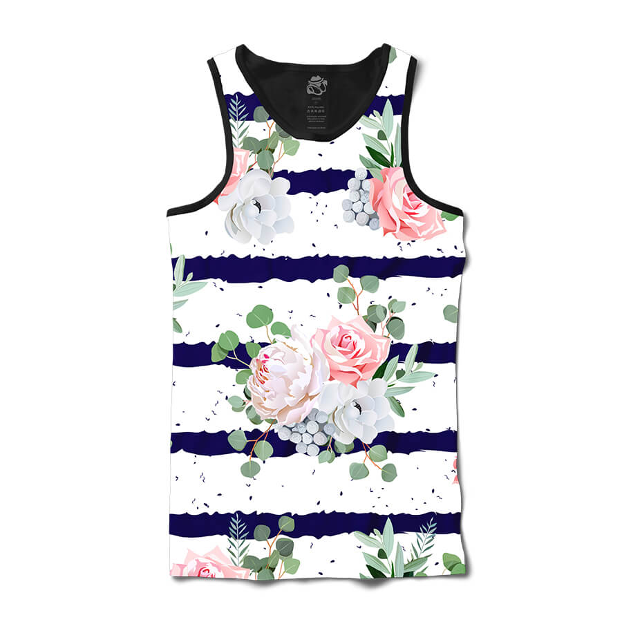 Camiseta BSC Regata Flower Ink Ribbon Full Print Preto/Branco
