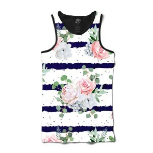 Camiseta BSC Regata Flower Ink Ribbon Sublimada Preto/Branco