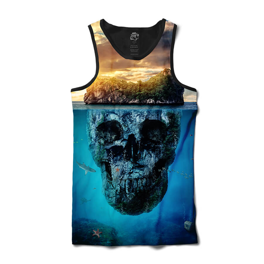 Camiseta BSC Regata Mountain Skull Full Print Preto/Azul