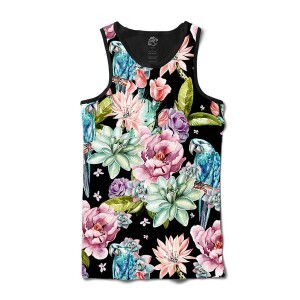 Camiseta BSC Regata Great Blue Macaw Flower Sublimada Preto