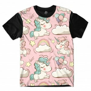 Camiseta BSC  Unicorn Balloon Full Print Preto/Rosa