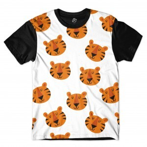 Camiseta BSC Plush Tiger Sublimada Preto/Branco
