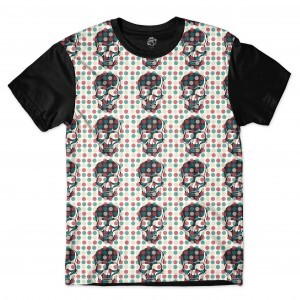 Camiseta BSC Skull Little Pot Full Print Preto/Branco