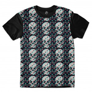 Camiseta BSC Skull Little Pot Full Print Preto/Preto