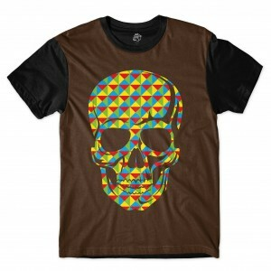 Camiseta BSC Skull Geometric Calors Full Print Preto/Marrom
