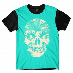 Camiseta BSC Skull Summer Holiday Full Print Preto/Azul