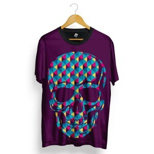 Camiseta BSC Skull Geometric Colors Full Print Roxo