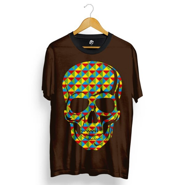 Camiseta BSC Skull Geometric Calors Full Print Marrom