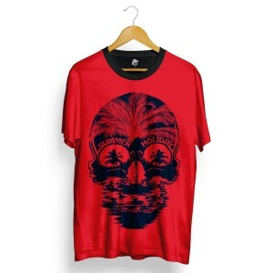 Camiseta BSC Skull Summer Holiday Total Full Print Vermelho