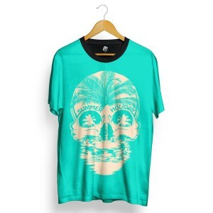 Camiseta BSC Skull Summer Holiday Total Full Print Azul