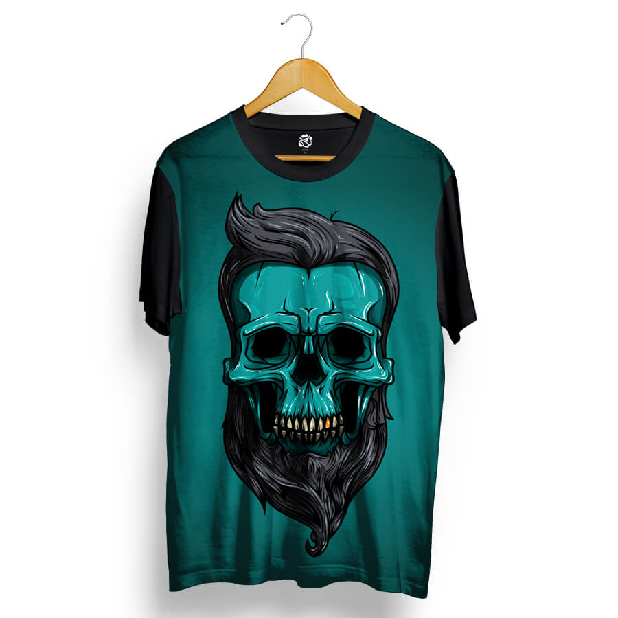 Camiseta BSC Skull Big Beard Sublimada Preto/Verde