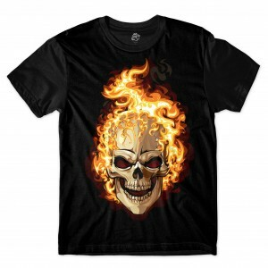 Camiseta BSC Skull On Fire Sublimada Preto