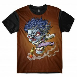 Camiseta BSC Smoke Zombie Sublimada Preto/Marrom