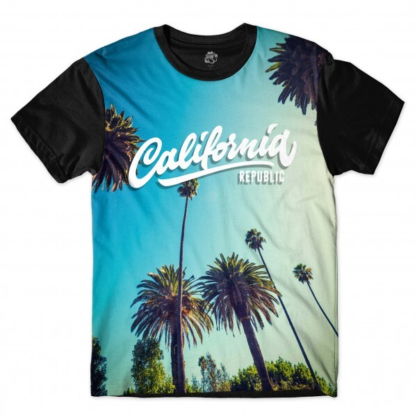 Camiseta BSC California Rep Full Print Preto/Azul