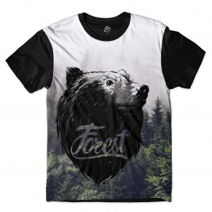 Camiseta BSC Bear Forest Full Print Preto