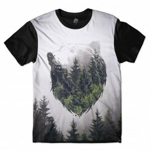 Camiseta BSC Bear Two Exp Full Print Preto/Branco