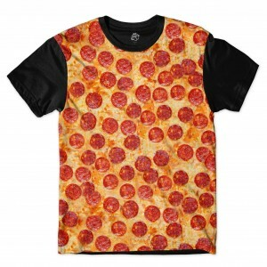 Camiseta BSC Delicious Pizza Full Print Preto/Laranja