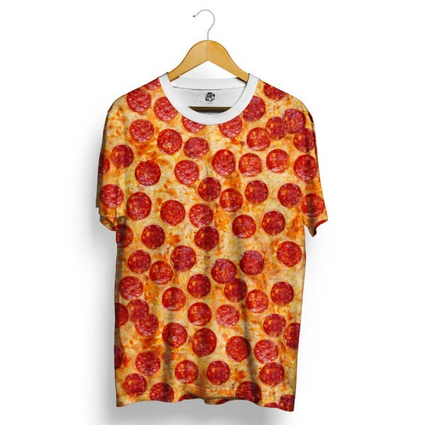 Camiseta BSC Delicious Pizza Total Full Print Branco/Laranja