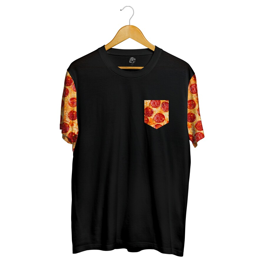 Camiseta BSC Pizza Pocket Sublimada Preto