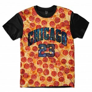 Camiseta Los Fuckers Chicago Pizza Galaxy Full Print Preto/Laranja