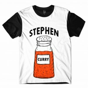 Camiseta BSC Stephen Curry Sublimada Branco/Preto