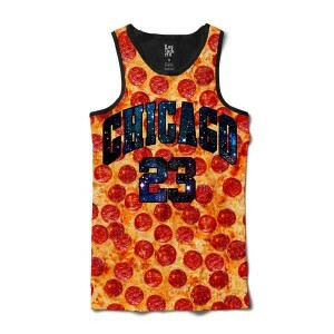Camiseta Los Fuckers Regata Chicago Galaxy Pizza Full Print Preto/Laranja/Azul