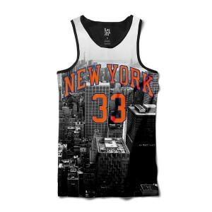 Camiseta Los Fuckers Regata New York 33 City Full Print Preto/Cinza