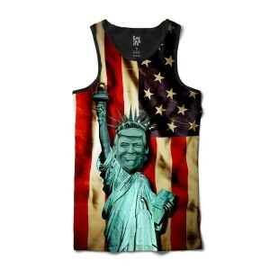 Camiseta Los Fuckers Regata Statue of Liberty Trump USA Full Print Preto/Vermelho