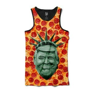 Camiseta BSC Regata Trump Bust Pizza Sublimada Preto/Laranja