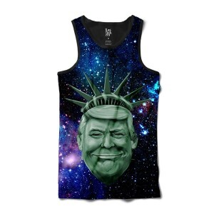 Camiseta Los Fuckers Regata Trump Bust Galaxy Full Print Preto/Azul