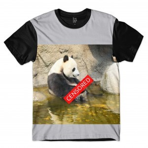 Camiseta Los Fuckers Panda Censored Full Print Cinza Preto