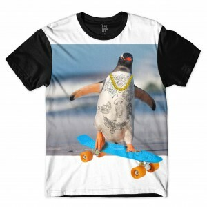 Camiseta BSC Pinguim Board Sublimada Branco Preto