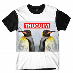 Camiseta Los Fuckers Pinguins Thuguim Full Print Branco Preto