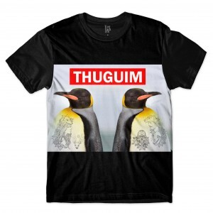 Camiseta Los Fuckers Pinguins Thugim Full Print Preto