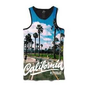 Camiseta BSC Regata California Rep Full Print Preto Azul