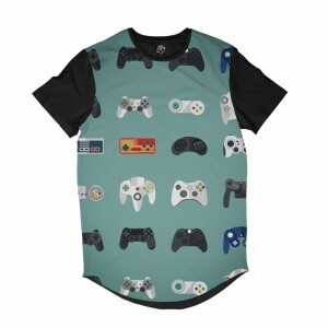 Camiseta BSC Longline Consoles de Video Games Sublimada Preta Azul