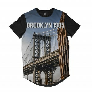 Camiseta BSC Longline Ponte do Brooklyn 1985 Sublimada Preta Azul