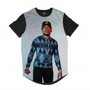Camiseta BSC Longline Chance The Rapper Sublimada Preta Cinza