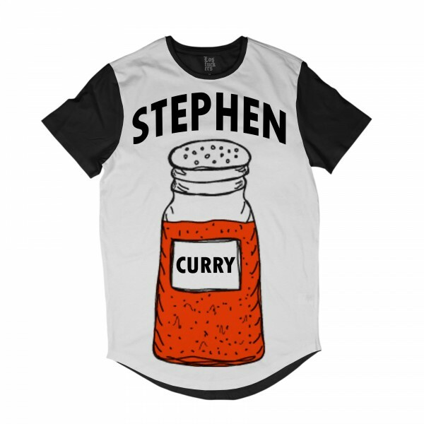 Camiseta BSC Longline Stephen Curry Sublimada Preto Branco